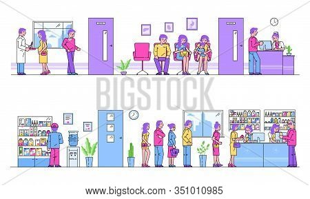Hospital Or Pharmacy People Queue For Treatment Healthcare Cartoon Vector Illustration. Patients In