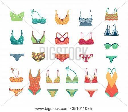 Summer Beach Bikini And Swimwear Set, Girls And Womans Underwear Lingerie Vector Illustration. Swimm