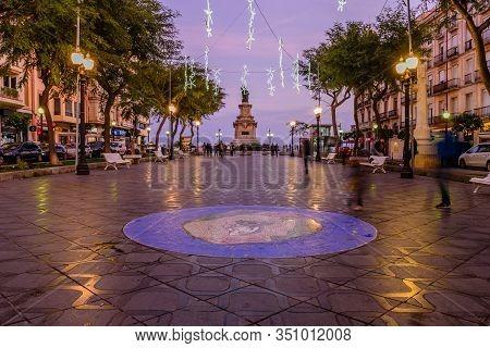 Tarragona, Spain - January 2, 2020: Cityscape Of Tarragona. Rambla Nova Promenade With Evening Illum