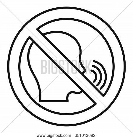 No Speaking Icon. Outline No Speaking Vector Icon For Web Design Isolated On White Background
