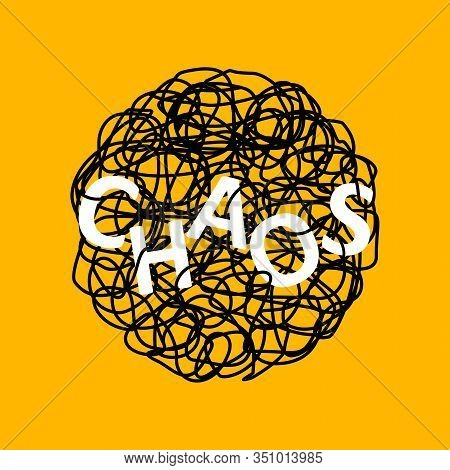Abstract Hand Drawn Illustration Of Chaos Over Tangled Mess Scribble Or Doodle On Yellow Background.