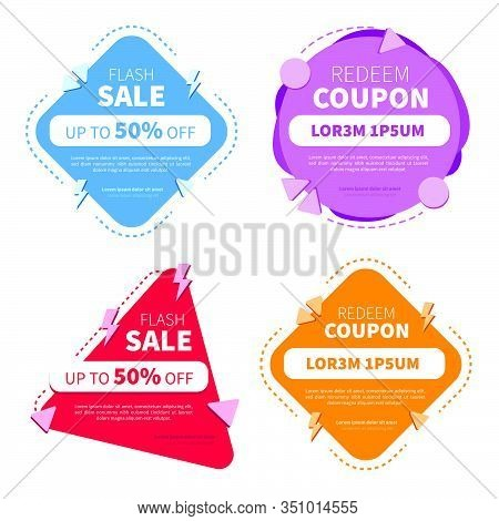 Set Of Sale Tags With Text. Tags Set With Discount Offer. Low Cost Icon. Promo Icon In Flat Style. V