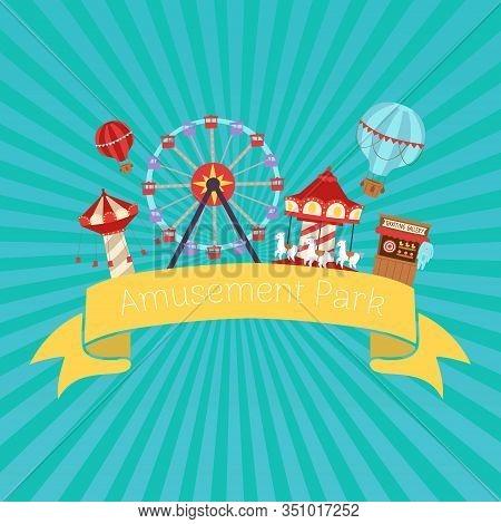 Amusement Park Retro Vector Illustration. Flat Design Conceptual City Banners With Carousels. Slides