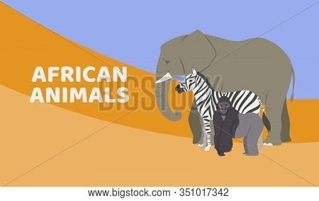 Zoo Or Safari Entrance With African Animals Vector Banner Or Poster. Illustration Of Elephant, Goril