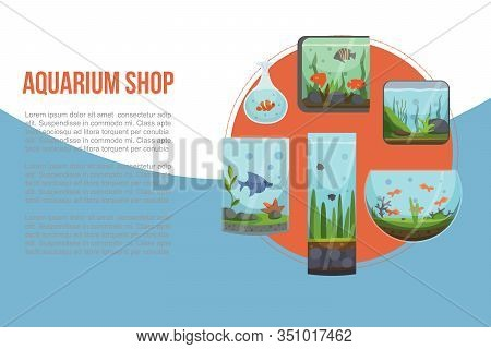 Aquariums With Golden Fish Vector Illustration Banner. Fish Aquarian House Underwater Tanks And Bowl