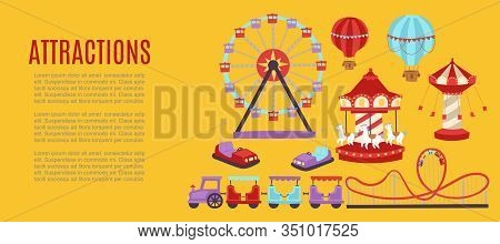 Attraction Vector Illustration Banner. Carousels. Slides And Swings, Ferris Wheel Kids Train Attract