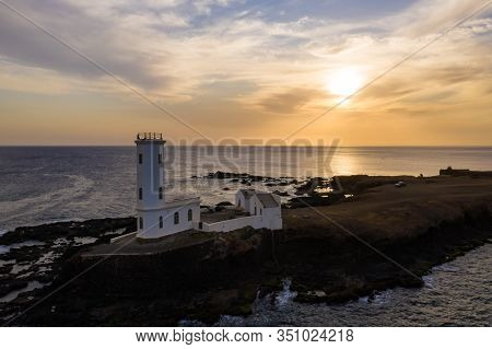 Aerial View Of Praia Dona De Maria Pia Lighthouse In Santiago - Capital Of Cape Verde Islands - Cabo