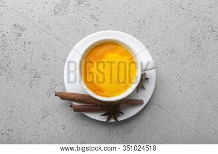 Turmeric Latte Or Golden Milk. The Drink Is Made By Steaming Milk With Aromatic Curcumin Powder And