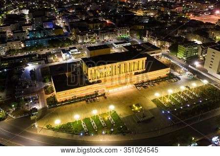 Night Aerial View Of Praia City In Santiago In Cape Verde Islands (cabo Verde)