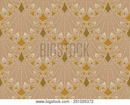 Art Nouveau Seamless Pattern In Brown Colors. Vintage Elegant Background
