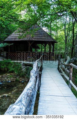 Natural Reserve In Banat Mountains. Bigar Waterfall. The Source Of Bigar, Transylvania, Romania