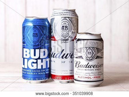 London, Uk - April 27, 2018: Aluminium Can Of Budweiser Bud Light And Non Alcoholic  Beer On Wooden