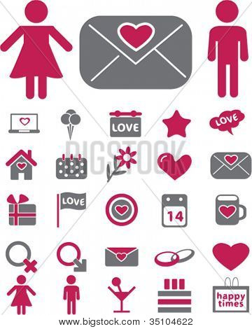 wedding & love icons set, vector