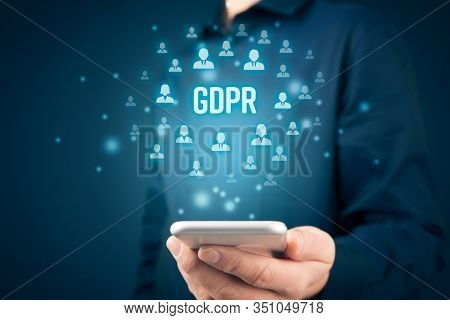 Gdpr (general Data Protection Regulation) And Smart Phone Concept. Businessman Or It Technologist Wi