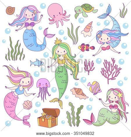 Cute Mermaids. Adorable Fairytale Underwater Princesses Mythological Sea Creatures. Fishes, Turtle A