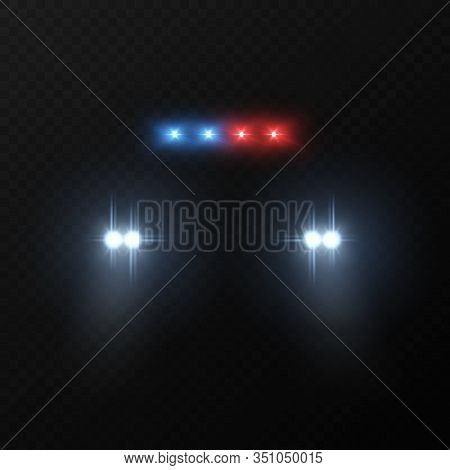 Police Car Headlights. Patrol Police Car With Flashing Light And Headlights In Dark, Justice Automob