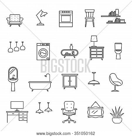Line Furniture. Living Room Interior Design Icons, Sofa And Table, Armchair And Washer, Sink And Lam