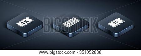 Set Isometric Screen Tv With 4k Ultra Hd Video Technology , Laptop Screen With 4k Video Technology A