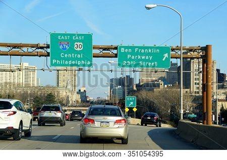 Philadelphia, Pennsylvania, U.s.a - February 9, 2020 - The View Of The Traffic On Interstate 676 Eas
