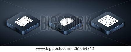 Set Isometric Military Ammunition Box, Military Ammunition Box And Military Helmet Icon. Vector