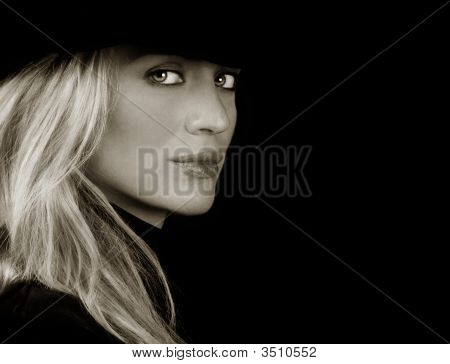 Beautiful Blond fashion Model On Black Ground poster