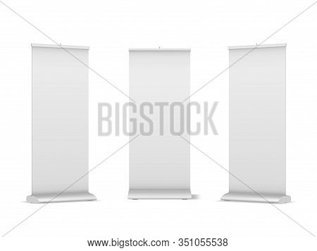 Set Of Blank Roll-up, Pop-up Or Pull-up Banner Stands