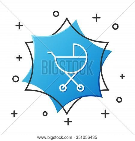 White Line Baby Stroller Icon Isolated On White Background. Baby Carriage, Buggy, Pram, Stroller, Wh