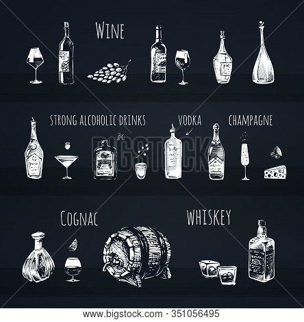 Bar Menu Design. Strong Alcoholic Drinks, Wine Bottle And Wineglass, Vodka Shot, Champagne, Cognac A