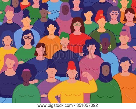 International Womens Day. Group Of Womens With Different Nationalities And Cultures. Womens Day Conc
