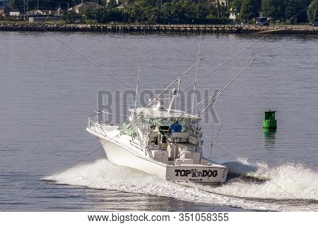 New Bedford, Massachusetts, Usa - July 26, 2019: Powerboat Top Dog, Hailing Port Westport, Ma, Cross