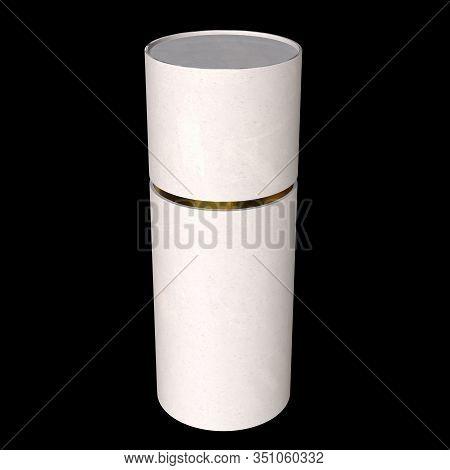 Kraft Paper Cardboard Tube Package With Gold Part Mock Up. 3d Render On Black Background.