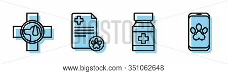 Set Line Dog Medicine Bottle And Pills, Veterinary Clinic Symbol, Clipboard With Medical Clinical Re