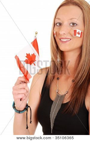 Young woman with canada flag and tattoos