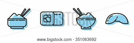 Set Line Rice In A Bowl With Chopstick, Rice In A Bowl With Chopstick, Sushi And Chinese Fortune Coo