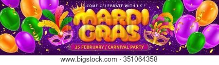 Advertising Or Invitation For Mardi Gras Carnival. Luxury Golden Venetian Masks With Lush Feathers A