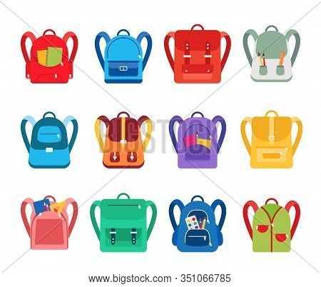 Cartoon Color Different Backpacks Icons Set Symbol Of Adventure And Education. Vector Illustration O
