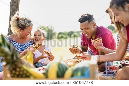 Cropped View Of Happy Multiracial Families Having Fun With Kids At Pic Nic Barbecue Party - Multieth