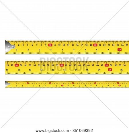 Realistic 3d Detailed Measuring Tape Row Set In Centimeters And Inch For Equipment Roulette. Vector