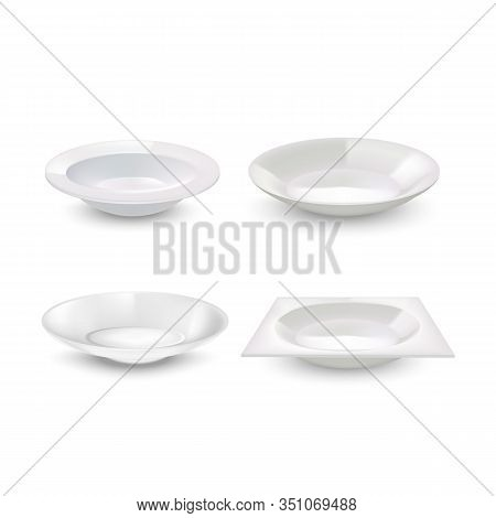 Realistic Detailed 3d White Blank Plates Empty Template Mockup Set. Vector Illustration Of Mock Up B