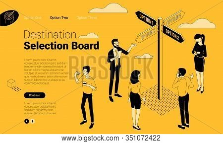 Flat Design Isometric Concept For Decision Technology And Effective Solution With Directional Sign A