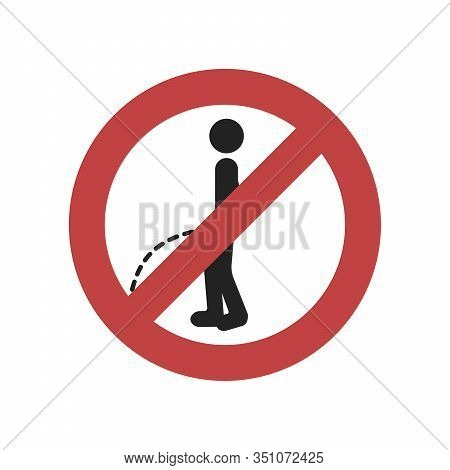 No Peeing Sign On White Background.vector Illustration