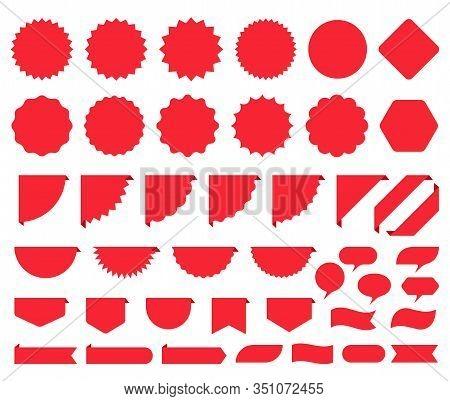 Price Burst Box. Starburst Promo Sticker. Vector. Round Star Icon. Set Sale Tag Badges. Red Circle,