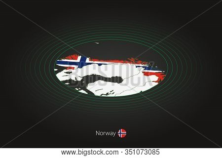 Norway Map In Dark Color, Oval Map With Neighboring Countries. Vector Map And Flag Of Norway