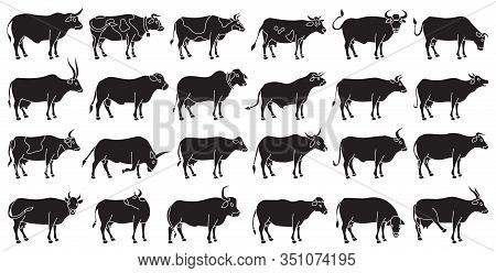 Cow Of Animal Vector Black Set Icon.isolated Black Icon Farm Animal Of Cow.vector Illustration Cattl