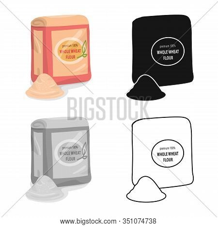 Vector Illustration Of Flour And Pack Icon. Set Of Flour And Bag Vector Icon For Stock.