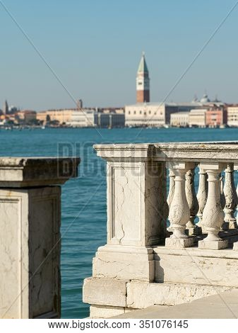Balustrade In Front Of Campanile And Doge Palace In Venice (italy) On A Sunny Day In Winter