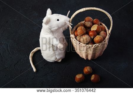 Hazelnuts, Filbert On Wooden Backdrop. Heap Or Stack Of Hazelnuts. Hazelnut Background, Healty Food