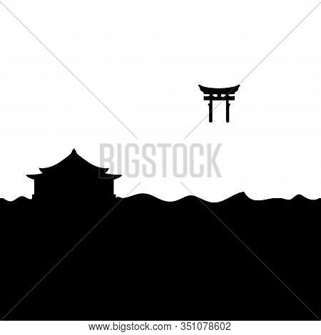 Shinto Shrine And Torii Gate. Black And White Vector.