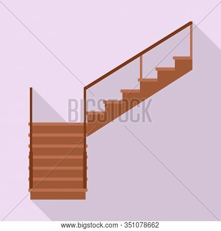 Wooden Staircase Vector Icon.flat Vector Icon Isolated On White Background Wooden Staircase.