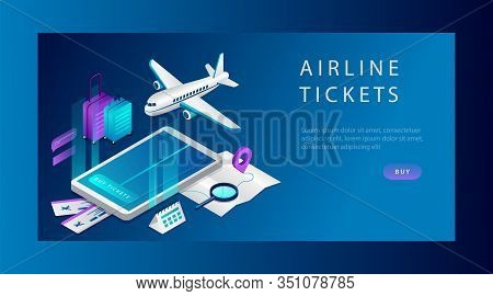Isometric Concept Of Airline Tickets For Business And Travel. Website Landing Page. Airline Ticket B